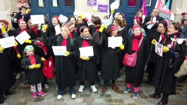 women's day on march 8, 2020 in paris, france. - frauenrechte stock-videos und b-roll-filmmaterial