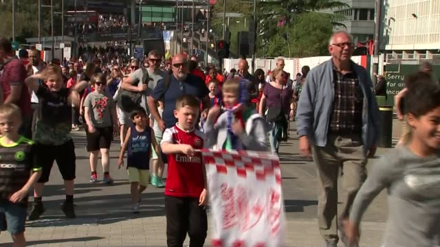 women's fa cup final festival of football held at wembley england london wembley wembley stadium ext wide shot wembley stadium arch tilt down people... - wembley stock videos & royalty-free footage