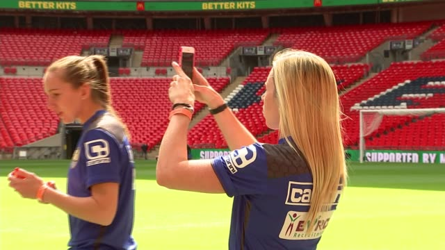 women's fa cup final to be played at wembley stadium for first time preview england london wembley stadium ext various shots of members of notts... - リチャード・パロット点の映像素材/bロール