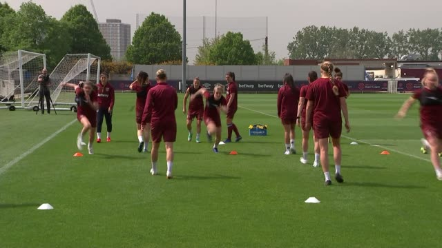 women's fa cup final west ham preparations england essex romford rush green training ground ext various shots of west ham women's football team at... - women's football stock videos & royalty-free footage