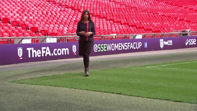 women's fa cup final west ham preparations england manchester int steph houghton press conference sot wembley stadium ext reporter to camera essex... - women's football stock videos & royalty-free footage