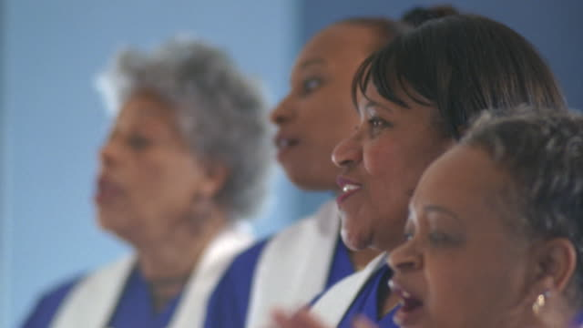 tu cu women's gospel choir singing in church / port gamble, washington state, usa - 賛美歌点の映像素材/bロール