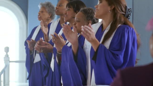 ms women's gospel choir singing in church / port gamble, washington state, usa - 賛美歌点の映像素材/bロール