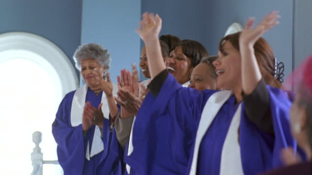 ms women's gospel choir singing in church / port gamble, washington state, usa - choir stock videos & royalty-free footage