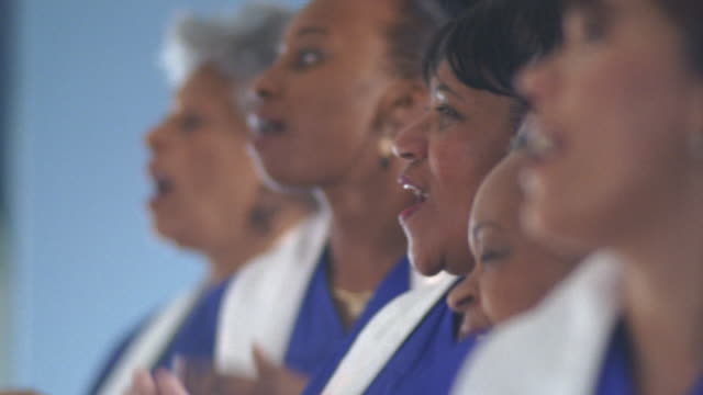cu women's gospel choir singing in church / port gamble, washington state, usa - choir stock videos & royalty-free footage