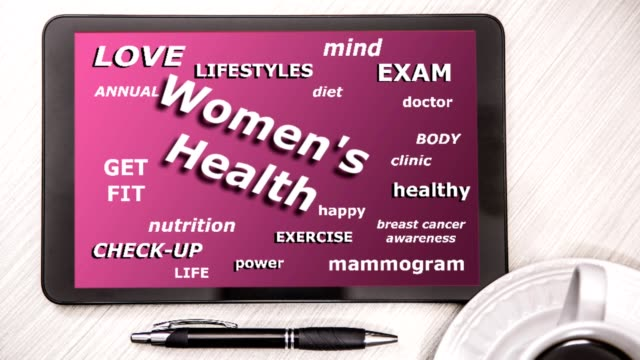 Women's Health word cloud on digital tablet screen.