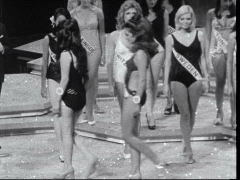 women's liberation movement lib int miss world competition with swim suit parade - 1970 stock videos & royalty-free footage