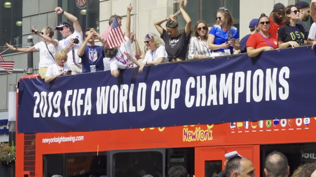 women's national team signs autographs before the start of the parade from battery park via broadway onto city hall in manhattan, new york city. the... - football team stock videos & royalty-free footage