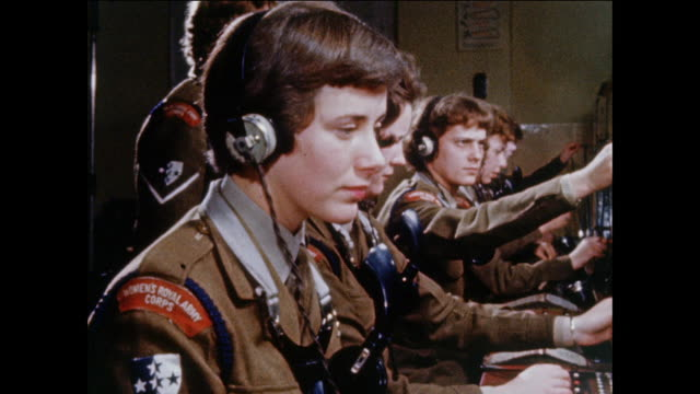 montage womens royal army corps members operate communication equipment / uk - telephone switchboard stock videos and b-roll footage