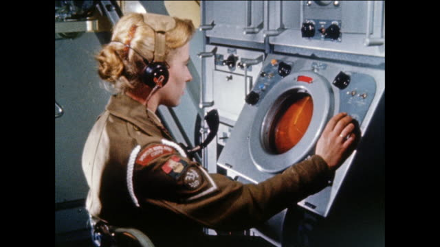 montage womens royal army corps operates radar site to clear firing range of ship traffic / uk - radar stock videos & royalty-free footage