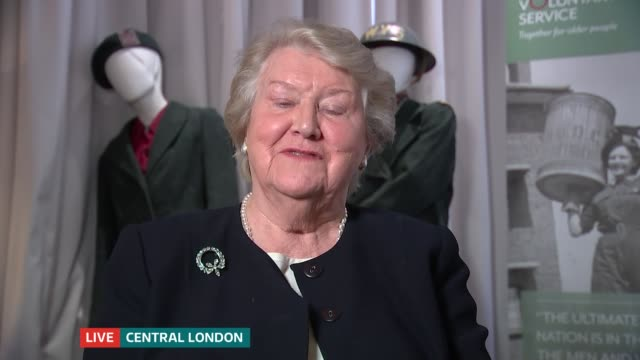 women's royal voluntary service wartime diaries put online london gir int dame patricia routledge 2 way interview from central london sot - patricia routledge stock videos & royalty-free footage