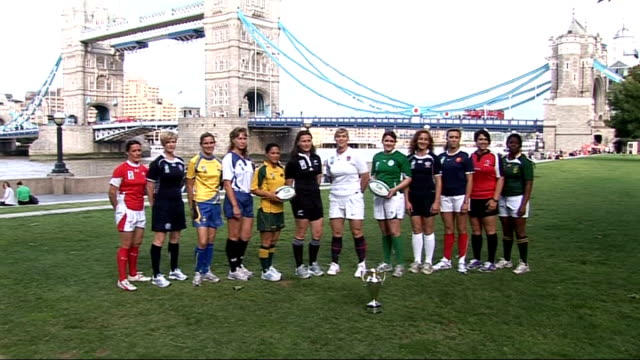 Women's Rugby World Cup 2010 launch ENGLAND London City Hall EXT General views of of England captain Catherine Spencer / Close view of World Cup...