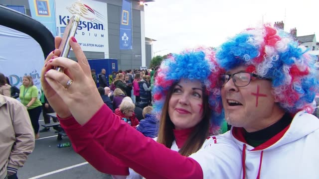 women's rugby world cup final new zealand beat england fan wearing england flags on headband england fans posing for selfie photograph england fans... - headband stock videos and b-roll footage