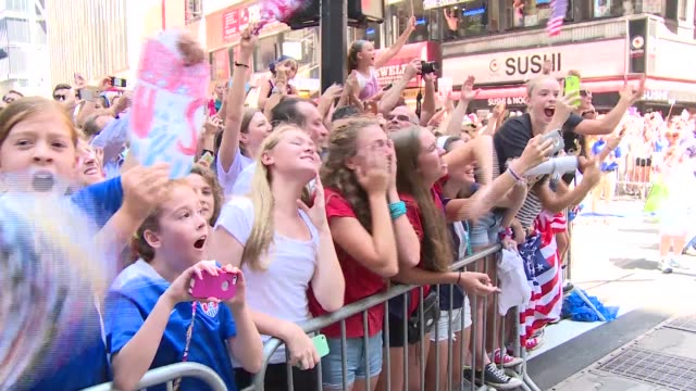 us women's soccer team celebrate world cup championship with ticker tape parade in new york city - fifa world cup stock videos & royalty-free footage