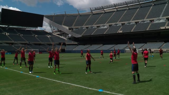 s women's soccer team warms up at july 8 2016 before game game against south africa at soldier field in chicago on july 8 2016 - national team stock videos & royalty-free footage