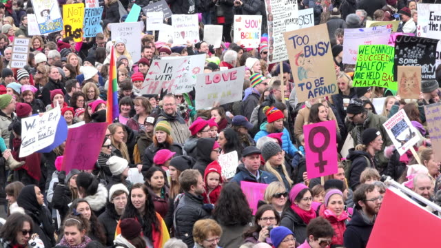 Women's solidarity march claiming for more social justice and equality for female population in Canada / They marched in solidarity with the...