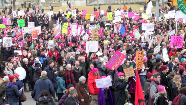 women's solidarity march claiming for more social justice and equality for female population in canada / they marched in solidarity with the... - social justice concept stock videos & royalty-free footage