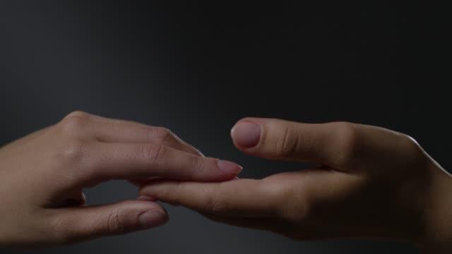 Women`s touching hands. Fashion Video.