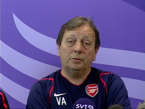 Women's UEFA Cup Final Arsenal v Umea preview INT Vic Akers press conference SOT Arsene Wenger press conference SOT