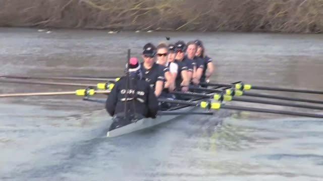 women's world cup 2015 england reach quarter finals lib / t10041553 oxfordshire various of oxford university women's rowing crew training on river - 乗員点の映像素材/bロール