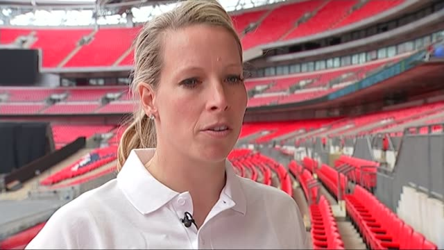 Women's World Cup 2015 Preparations for England v France match Wembley Various shots Rachel BrownFinnis speaking to reporter Rachel BrownFinnis...