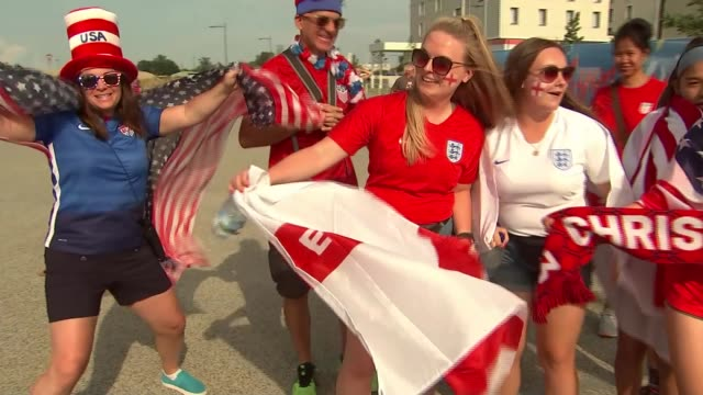 women's world cup 2019 england lose to united states in semi final france lyon parc olympique lyonnais ext various shots of england and usa fans... - parc olympique lyonnais stock videos and b-roll footage