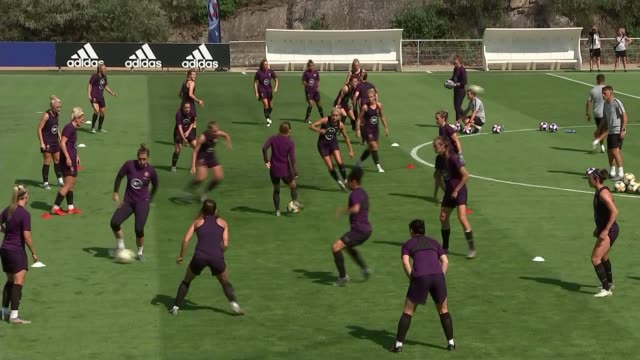 women's world cup 2019 england preparing to take on usa in semifinal france ext general views of england women's team training for match against usa - women's football stock videos & royalty-free footage