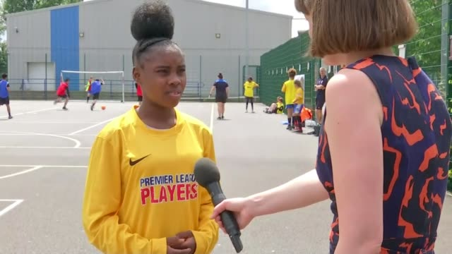 women's world cup 2019: england preparing to take on usa in semi-final; england: london: southfields: southfields academy: ext vox pops. - 準決勝点の映像素材/bロール