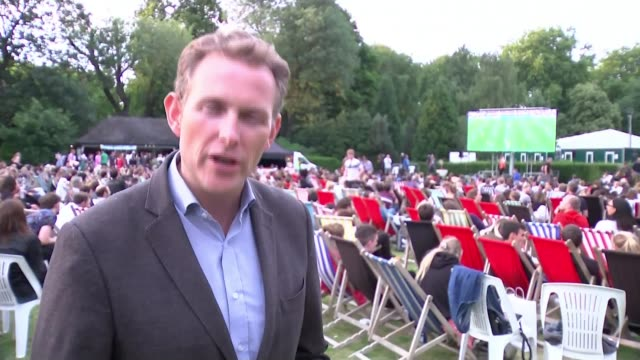 women's world cup 2019: england's achievements help to promote the women's sport; england: london: battersea park: ext reporter to camera sot night... - battersea park stock videos & royalty-free footage