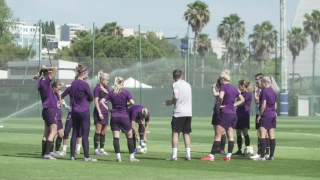 women's world cup 2019 katie chapman interview france ext england team training phil neville chatting to team in training session various shots of... - soccer competition stock videos & royalty-free footage