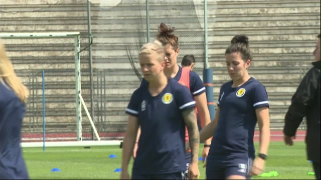 women's world cup campaign to change sexist stereotyping of fans france nice ext various shots of scotland women's football team training - scotland stock videos & royalty-free footage