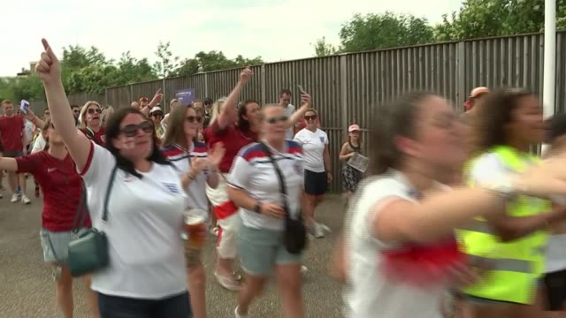 women's world cup england beat cameroon in controversial match france valenciennes ext england fans chanting as along sot it's coming home fans with... - face paint stock videos & royalty-free footage