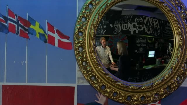 women's world cup england v norway fran kirby's old primary school prepares for match england london int 'maiden' and 'vikings' signs on toilet doors... - viking helmet stock videos and b-roll footage