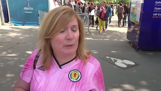 women's world cup matches france rennes roazhon park ext vox pops reporter to camera sot - rennes frankreich stock-videos und b-roll-filmmaterial