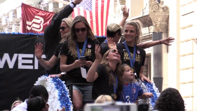 us women's world cup soccer team ticker tape parade with governor cuomo - football team stock videos & royalty-free footage