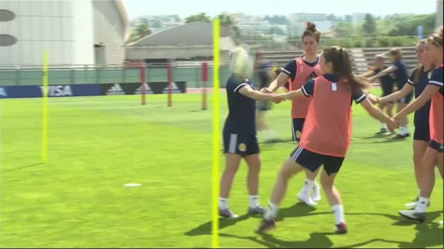 women's world cup tournament to kickoff in france this afternoon france ext various shots of scotland women's team training session jo love press... - scotland stock videos & royalty-free footage