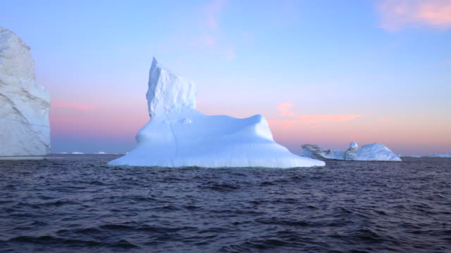 wonder of nature at disko bay during sunset - inlet stock videos & royalty-free footage