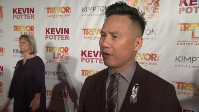 d wong talks about the show of solidarity at the tonys last night at the trevor project's trevorlive new york at marriott marquis hotel on june 13... - 70th annual tony awards stock videos and b-roll footage