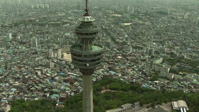 aerial woobang tower / daegu, south korea - daegu stock videos and b-roll footage