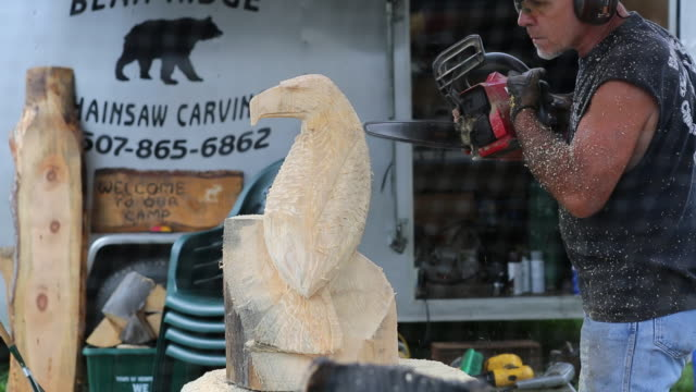 a wood based artisan working on an eagle sculpture at the delaware county fair - maglietta senza maniche video stock e b–roll