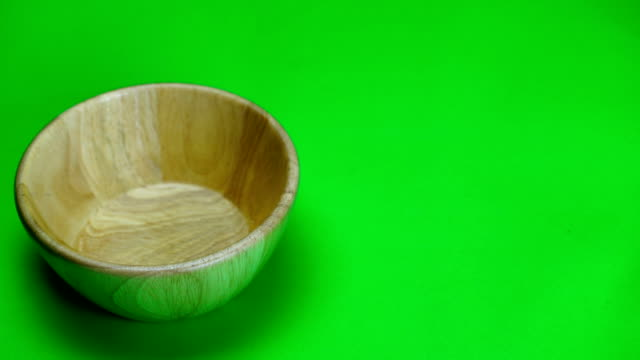wood bowl on green screen