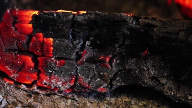 vídeos de stock e filmes b-roll de wood burning and ashes - cinza