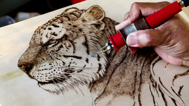 wood burning drawing. - wood stain stock videos & royalty-free footage