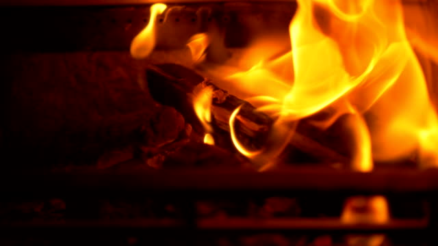 wood burning in fireplace - wood texture stock videos and b-roll footage