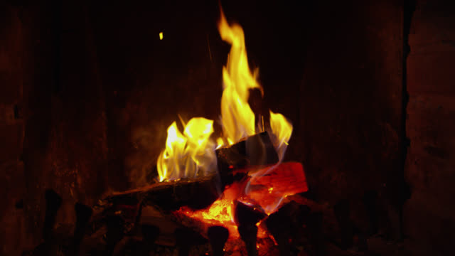 ds wood burning in the fireplace - warming up stock videos and b-roll footage