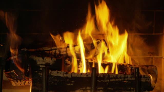 Wood burns in a fireplace.\n\n