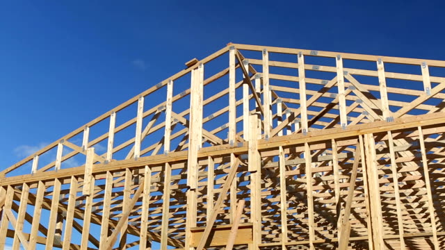 wood construction frame lumber industry. - roof beam stock videos & royalty-free footage
