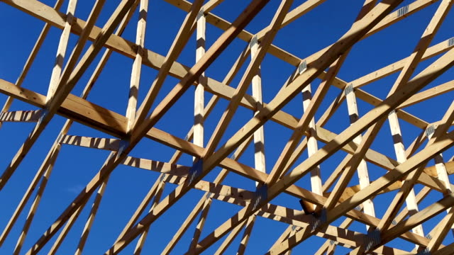 wood construction frame lumber industry. - timber stock videos and b-roll footage