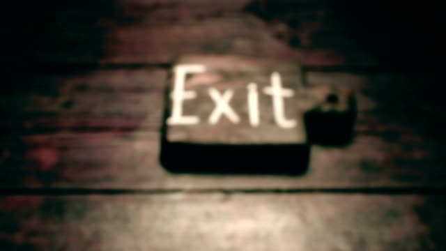 wood exit sign - exit sign stock videos & royalty-free footage