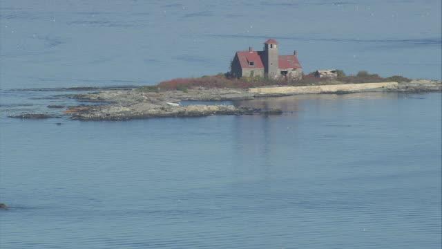 aerial wood island lifesaving station / maine, united states - island stock videos & royalty-free footage